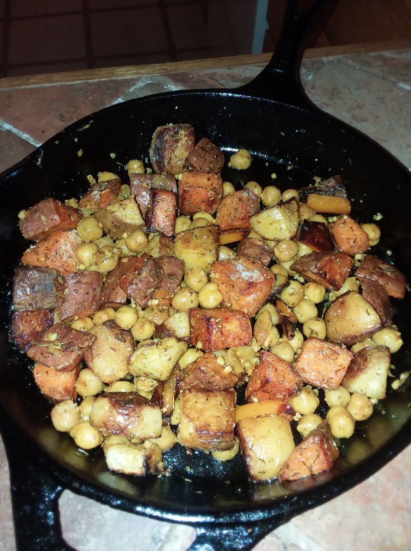 Baked Turnip, Sweet Potato and chickpea